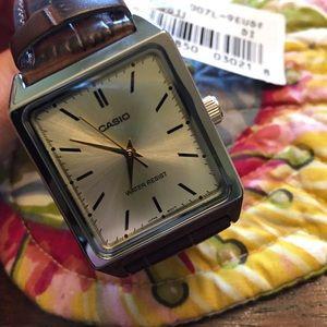 Men's Casio rectangular dress watch.
